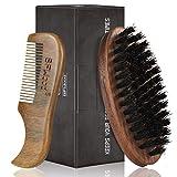 BFWood Brosse à barbe et peigne à barbe et moustache de poche – Outil d'entretien des poils du visage pour homme