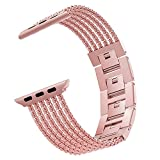 MoKo Compatible Band Replacement for Apple Watch 38mm 40mm Series 5/4/3/2/1, Jewelry Buckle Stainless Steel Metal Replacement Smart Watch Strap Bracelet + Watch Lugs - Old Rose