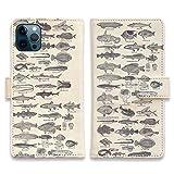 AnglersLife 手帳型 iPhone アイフォン スマホケース マグネット付 カード収納 魚図鑑 1890年……