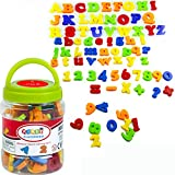 SIMUER Letras y números magnéticos Magnetic Alphabet Letters Numbers Symbols Refrigerator Magnets Educational Toys Teaching Aid for Preschool Kids with Bucket 78 PCS