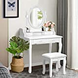 Giantex Vanity Table Set with Oval Mirror and 4 Drawers, Wood Makeup Dressing Table with Cushioned Stool,Top Removable Writing Desk, Modern Bedroom Dressing Table for Kids Girls Women (White)