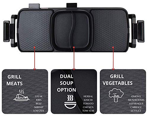 Product Image 5: Soup N Grill V2 Hotpot Grill Combo, Indoor Korean BBQ, Shabu Shabu Electric Hot Pot with Divider, Portable with Free Strainer Scoops, Extra Long Chopsticks, Tongs, Cloths, Smokeless Grill