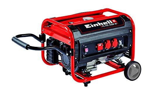 Einhell Stromerzeuger (Benzin) TC-PG 3500 W (4,1 kW, Dauerleistung bis 2600 W, max. 3100 W, zwei 230 V-Anschlüsse, 4-Takt-Motor, 15 L, Überlastschalter, Ölmangelsicherung, Voltmeter, AVR-Funktion)