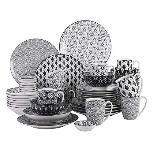 vancasso Haruka Kombiservice aus Porzellan, 48 tlg. Geschirr Set, mit Kaffeebecher, Müslischale, Dessertteller, Flachteller, Tiefteller und Dipschälchen, Tafelservice für 8 Personen