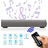 Sound Bar Bluetooth 4.2 Wireless & Wired 16.9 Inch Soundbar Surround Sound Home Theater Built-in Subwoofers for PC/Phones/Tablets, 2 X 5W Bluetooth Stereo Speaker with Remote Control AUX/TF Card