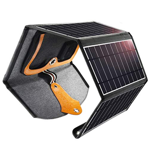 CHOETECH 22W Chargeur Solaire, Chargeur Panneau Solaire Pliable 4 Panneaux...