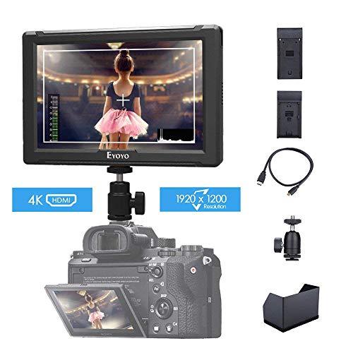 Monitor da Campo 7 pollici Eyoyo E7S Full HD 1920 * 1200 Ultra Sottile Supporta 4K/ HDMI per Sony Canon Nikon Fotocamera DSLR e Videocamera con Parasole Copertura piastra batteria F970 LP-E6
