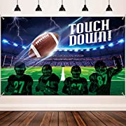 Size : the football field backdrop banner measures 185 x 110 cm/ 72.8 x 43.3 inch, large enough for the football party themed decoration and for photography at your party, it added an extra touch to party theme Durable material : the football field b...