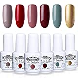 Perfect Summer Gel Nail Polish Set - 6 Popular Colors Gel Nail Varnish Soak Off UV LED Manicure Home Gel Kit 8ML 193