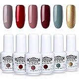 Perfect Summer Gel Nail Polish Set - 6 Popular Colors Gel Nail Varnish Soak Off UV LED Manicure Home Gel Kit 8ML 193