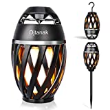 Djtanak Led Flickering Table Lamp, Tiki Torch Atmosphere Outdoor Bluetooth Speaker with Pole and Hook Bundle, Stereo Sound, Exclusive BassUp, Waterproof TWS Supported for Indoor/Garden/Patio