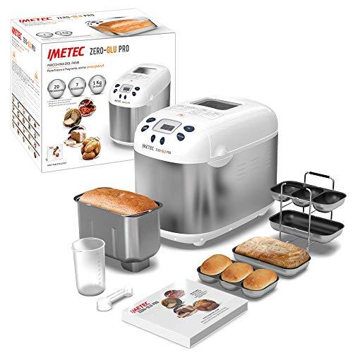 Imetec Zero-Glu PRO Machine à pain et à gâteaux, avec 20 programmes automatiques / 11 sans gluten, 7 accessoires, 3 formes différentes, pétrissage, levée, cuisson, livre de recettes, capacité 1 kg