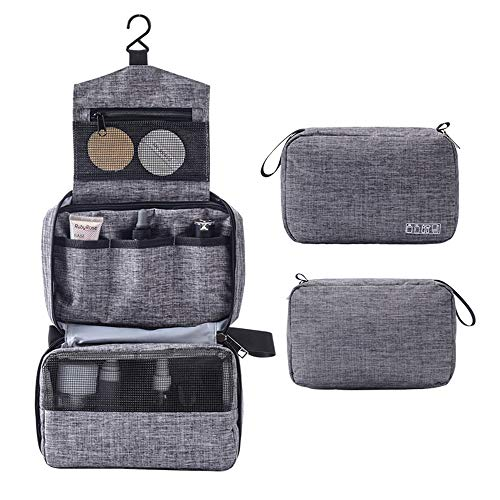 Portable Toiletry Bagswaterproof travel cosmetic bagMasatre hanging cosmetic bagcosmetic bag ladiesvacation and business travel goods (gray)