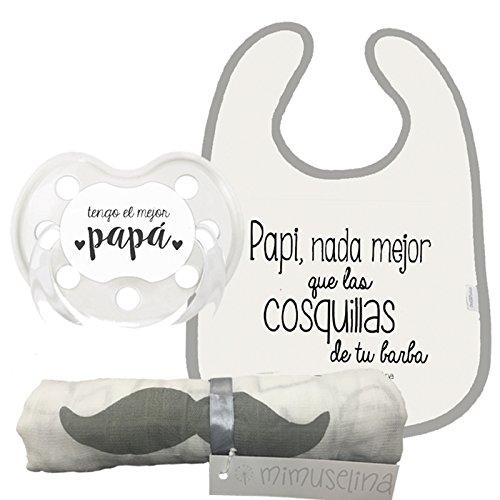 Mimuselina Pack Regalo Día del Padre | Regalo para Papás y Bebés, Muselina Algodón, Chupete y Babero para Papi y Bebé, regalo original para Papás Primerizos