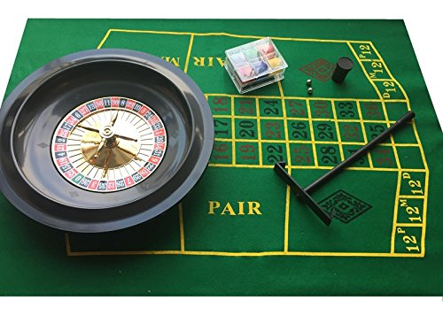 BOXED ROULETTE SET 10 DELUXE - CHIPS WHEEL BALLS FELT RAKE by Quality Products