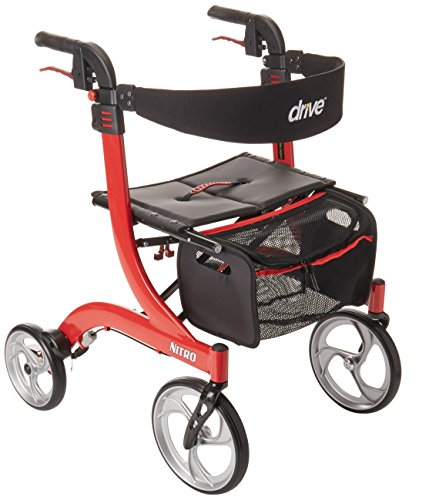 Drive Medical Nitro Euro Style Rollator Walker, Standard Height, Red