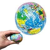 12 Globe Stress Balls - 3 Inch Foam Earth Squeeze Toys with World Map (1 Dozen)