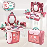 Tpoco 2 In 1 Vanity Mirror, Makeup Accessories, Dress up & Pretend Play, Little Cosmetics Pretend Makeup Set with Suitcase and Hair Dryer, Girls Vanity Toys for 2 3 4 5 Year Old, Girls Pretend Play Set