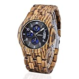 Natural Solid Wood & Light Weight: Bewell watch is hand crafted from high density solid wood makes it really light weight and comfortable on the wrist. It will not crack or deform and their fragrance retain for decades Multifunction & Convenient : Da...
