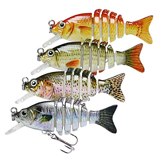 TRUSCEND Esche Artificiali da Pesca per Trota Seppie Spigola Luccio, Esca Swimbait Affondamento Lento, Pesca Accessori kit Pesca per Acqua Dolce e Salata, Regalo Pesca per Uomo