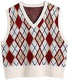 Las mujeres sueltas recortadas Argyle punto chaleco suéter vintage cuello en V sin mangas Chaleco...