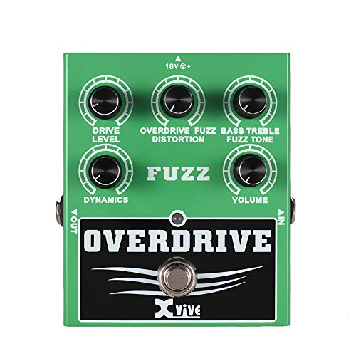 XVIVE Overdrive Fuzz Guitar Effect Pedal Bass Treble Control Dynamic Response Adjustable True Bypass Full Metal Shell