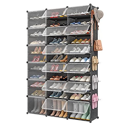 Aeitc 72 Pairs Shoe Rack Organizer Shoe Organizer Expandable Shoe Storage Cabinet Narrow Standing Stackable Space Saver Shoe Rack for Entryway, Hallway and Closet,48'x12'x72'