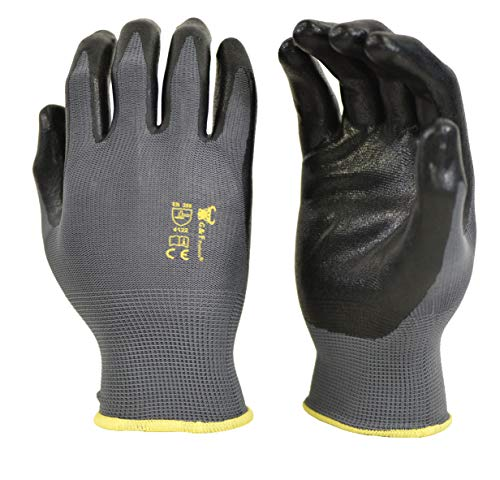 G & F 15196L Seamless Nylon Knit Nitrile Coated Work Gloves,...