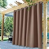 StangH Blackout Outdoor Curtains Long - Patio Waterproof Outdoor Curtains Front Porch Reduce Summer Sunlight Heat Drape for Garden / Yard / Lanai, Mocha, W100 x L84, 1 Panel