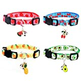 SuperBuddy Breakaway Cat Collar with Bell, 4 Pack Safety Adjustable Cat Collars Set