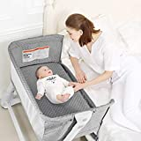 BABY JOY Baby Bassinet, Bedside Sleeper w/Wheels, Mattress & Cover, Straps, Mesh, 100lbs Weight Capacity, 8 Height Adjustable for Bed Sofa, Lightweight Bedside Bassinet for Baby Newborn Infant, Gray