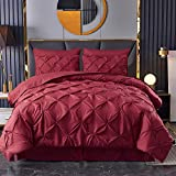 HAOK Bed in a Bag Set - 8 Pieces Pinch Pleat Bedding Comforter Sets, Pintuck Microfiber Down Alternative Calking Comforter Set (Burgundy, California King)