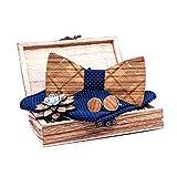 Kuty jeu de nœud papillon en bois. Classique bleu. L'ensemble comprend: nœud papillon en bois, boutons de manchette en bois, broche en bois, pochette de costume en 100% polyester.