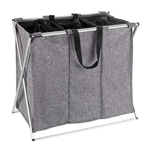 Wenko 62152100 Wäschesammler Trio meliert-/Wäschekorb Fassungsvermögen: 130 l, 63 x 57 x 38 cm, Meliert