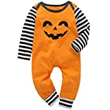 Infant Toddler Baby Girl Halloween Outfit Romper Bodysuit Boys Long Sleeve Pumpkin Jumpsuit Fall Clothes (Orange, 0-6 Months)