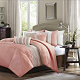 Madison Park Amherst Faux Silk Comforter Set-Casual Contemporary Design All Season Down Alternative Bedding, Matching Shams, Bedskirt, Decorative Pillows, King(104'x92'), Coral, 7 Piece (MP10-2321)
