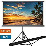 Portable Projector Screen with Tripod Stand 100 inch 16:9, Indoor Outdoor Foldable Movie Screen with Wrinkle-Free Design | Projection Screen for Home Theater Cinema Wedding Party Office