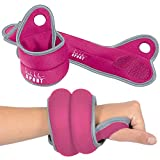 Nicole Miller Wrist Weight Sets Thumblock Hand Weights Sets for Women 2lb Each, 4lb Pair Total Magenta/Gray