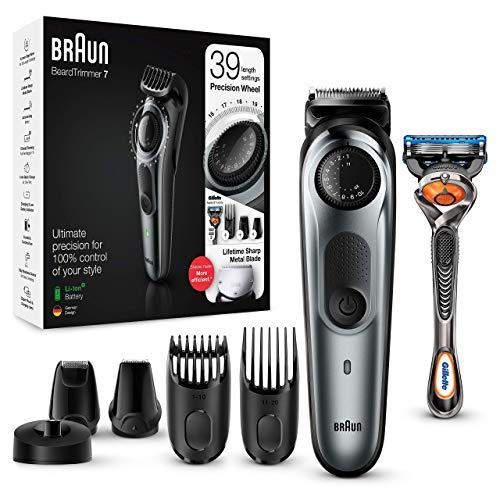 Braun BT7240 Tondeuse électrique Barbe et Cheveux, 39 Réglages de longueur, Noir/Gris Métallisé pour Homme