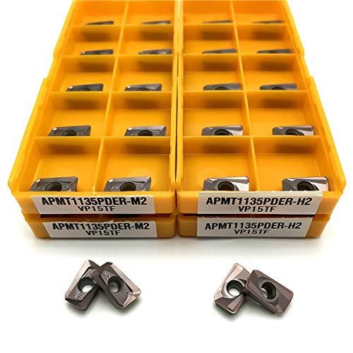 Txrh Drehbank APMT1135 PDER M2 / H2 VP15TF Drehwerkzeug Carbide APMT 1135 Planfräser-Drehmaschine CNC-Fräsen Werkzeuge Fräser CNC-Werkzeuge (Angle : 100pcs, Insert Width(mm) : APMT1135 M2 VP15TF)