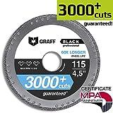 Diamond Metal Cutter GRAFF Black 4 1/2-Inch, Professional Angle Grinder Cutting Wheel, Sheet Metal Cutter, Cut Off Wheel 7/8-Inch Arbor - 3x Longer Metal Max Wheel Life (115mm)
