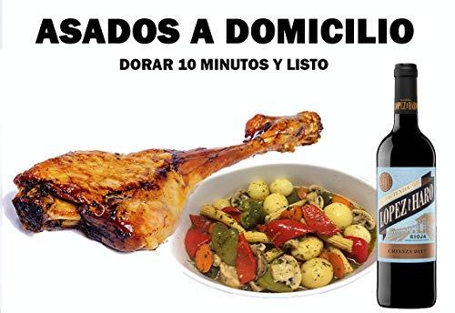LIVANIA - Lote Cena Perfecta. 1 Pierna de cordero + Guarnición + Vino. Dorar al horno o gill al gusto y listo para consumir. Comida Sana a Domicilio