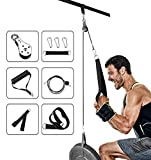 Gym Cable Machine Tricep Pulley System, 70''/1.8M Fitness Pulley Cable Attachments System, LAT and Lat Pulldown Machine for Triceps Pull Down, Biceps Curl, Back, Forearm, Home Gym Equipment Workout
