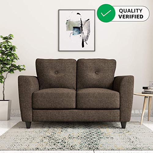 Amazon Brand - Solimo Royale 2 Seater Fabric Sofa (Brown)