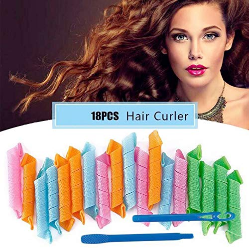 Magic Hair Curlers Spiral Curls Styling Kit, 18 Pcs No Heat Hair Curlers and 1 Styling Hooks, for Extra Long Hair Up to 30 cm (Multi-Colored)