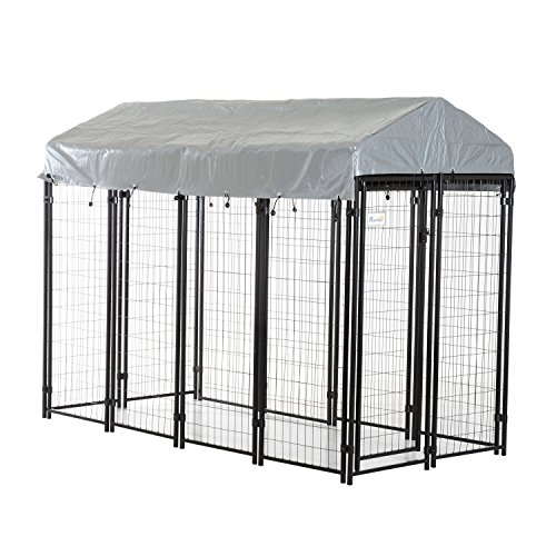 PawHut 97'' x 46' x 72' Large Outdoor Dog Kennel Galvanized Steel Fence with UV-Resistant Oxford Cloth Roof and Lock
