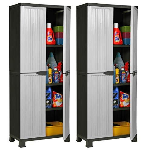 """Hier passt viel rein: 2 Stück Kunststoffschrank Modell\""""Noble\"""". Jeder Schrank mit 3 höhenverstellbaren Einlegeböden, 4 Füßen und abschließbaren Türen! Maße pro Schrank: 68 x 40 x 171 cm"""