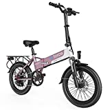 G-Force Electric Bike T12,Electric Bikes for Adults 20'' Folding Ebike,Max Speed 20MPH Adults Ebike with Removable Battery(48V 10.4A),Max Range 30Miles.