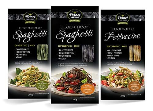Pasta orgánica de edamame y judías negras de Planet Plant-