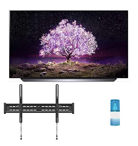 """LG OLED65C1PUB 65"""" 4K Ultra High Definition OLED Smart C1 Series TV with a Walts TV Large/Extra Large Tilt Mount for 43""""-90"""" Compatible TV's and a Walts HDTV Screen Cleaner Kit (2021)"""